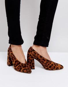 Туфли на блочном каблуке с леопардовым принтом Boohoo - Мульти