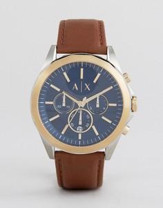 Часы-хронограф с коричневым кожаным ремешком Armani Exchange AX2612 - Коричневый