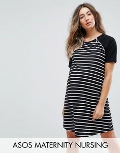 Платье в полоску с рукавами реглан ASOS Maternity NURSING - Черный
