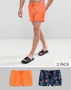 Набор из 2 пар коротких шортов для плавания (темно-синие/ с цветочным принтом) ASOS - СКИДКА - Мульти
