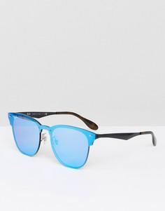 Солнцезащитные очки с зеркальными стеклами Ray-Ban Clubmaster 0RB3576N - Серебряный