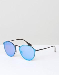 Круглые солнцезащитные очки с зеркальными стеклами Ray-Ban 0RB3574N - Серебряный