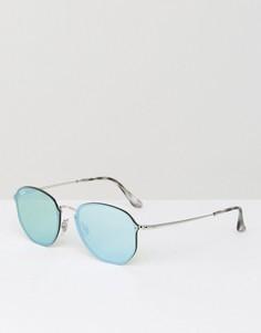 Круглые солнцезащитные очки с зеркальными стеклами Ray-Ban 0RB3579N - Серебряный
