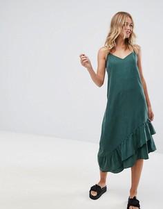 Асимметричное платье-комбинация миди Monki - Зеленый
