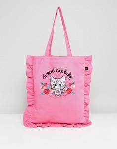 Сумка-тоут с 3D-вышивкой кошки и оборкой Lazy Oaf - Розовый