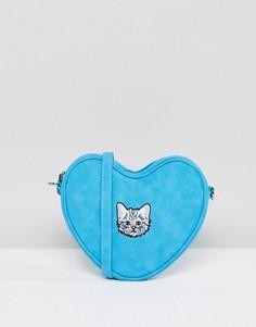 Голубая сумка в форме сердца с ремешком через плечо и вышитым котенком Lazy Oaf - Синий