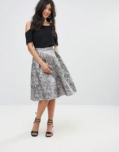 Жаккардовая юбка-трапеция Glamorous - Золотой