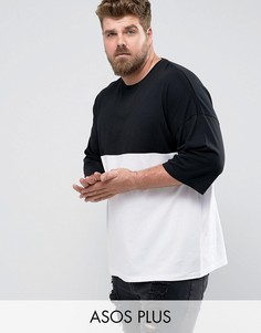 Оверсайз-футболка колор блок ASOS PLUS - Черный