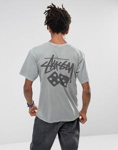 Серая футболка с принтом Stussy - Серый