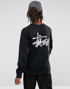 Черный свитшот с принтом на спине Stussy - Черный