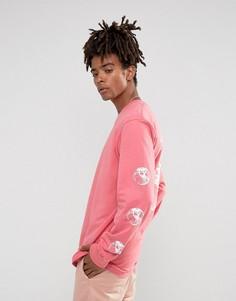 Розовый лонгслив с надписью Stock World на спине Stussy - Розовый