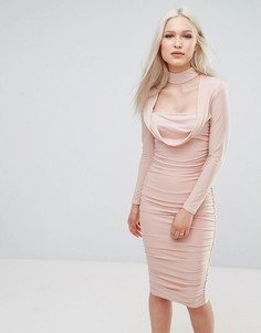 Платье с длинными рукавами из шелковистой ткани AX Paris - Розовый