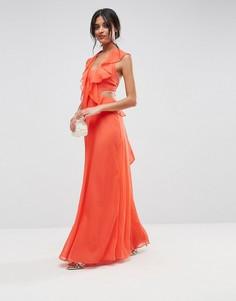 Платье макси с вырезами и оборками ASOS - Мульти