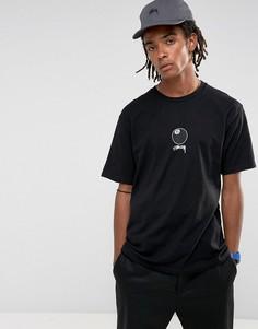 Черная футболка с принтом бильярдного шара номер 8 на груди Stussy - Черный