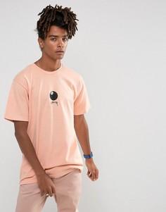 Бледно-розовая футболка с принтом бильярдного шара номер 8 на груди Stussy - Оранжевый