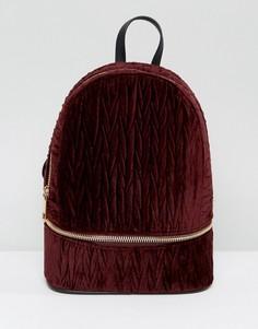 Рюкзак из мятого бархата с застежкой на молнии ASOS - Красный