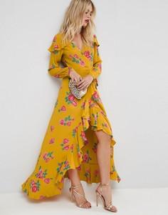 Чайное платье макси с цветочным принтом, запахом и длинными рукавами ASOS - Мульти