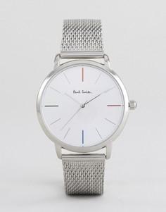 Часы с серебристым сетчатым ремешком Paul Smith P10102 MA 38 мм - Серебряный