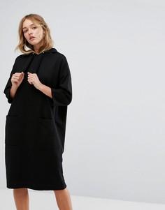 Трикотажное платье с капюшоном Monki - Черный