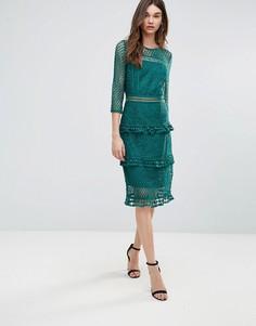 Кружевное платье миди с рукавами 3/4 Liquorish - Зеленый