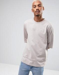 Бежевая oversize-футболка с двойным низом Puma эксклюзивно для ASOS - Серый