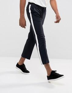Темно-синие укороченные строгие брюки с белыми полосами по бокам ASOS - Темно-синий