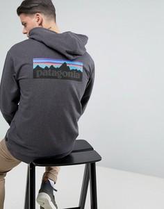 Черный меланжевый худи на молнии с логотипом на спине Patagonia P-6 - Черный