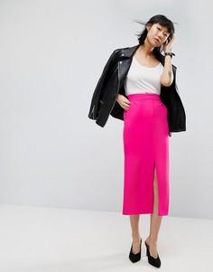 Однотонная прямая юбка-карандаш ASOS Tailored - Розовый