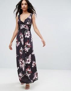 Платье макси с цветочным принтом City Goddess - Темно-синий