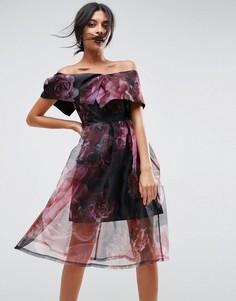 Платье миди для выпускного из органзы с цветочным принтом ASOS - Черный