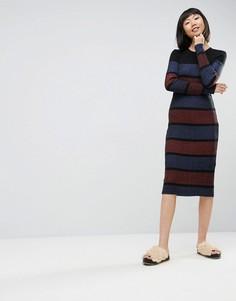 Трикотажное платье миди в полоску ASOS - Мульти