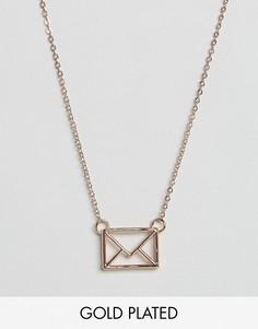 Ожерелье с подвеской Ted Baker Love Letter - Золотой