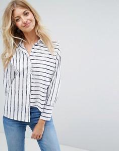 Асимметричная рубашка в полоску New Look - Белый