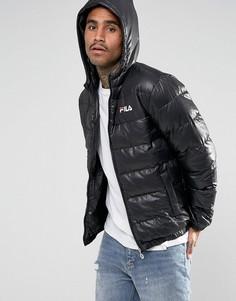 Черная дутая куртка с капюшоном Fila - Черный