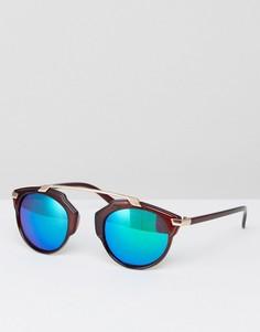 Коричневые солнцезащитные очки с синими затемненными стеклами 7x - Коричневый