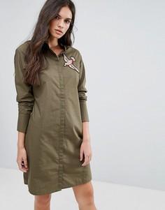 Платье-рубашка с аппликацией в виде птицы Vero Moda - Зеленый