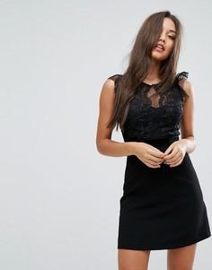 Платье-трапеция с кружевом Lipsy - Черный