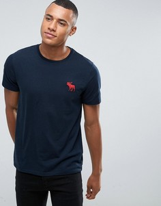 Синяя узкая футболка с круглым вырезом Abercrombie & Fitch Exploded Icon - Синий