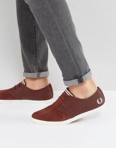 Низкие замшевые кроссовки с перфорацией и кожаными накладками Fred Perry Byron - Красный