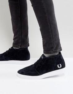 Темно-синие замшевые кроссовки средней высоты Fred Perry - Темно-синий