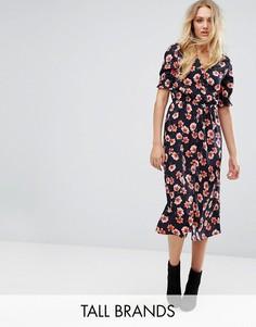 Платье миди с цветочным принтом Influence Tall - Черный