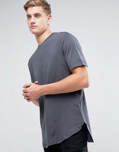 Серая плотная футболка с асимметричным краем Kiomi - Серый