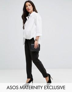 Широкие брюки из понте со складками ASOS Maternity - Черный
