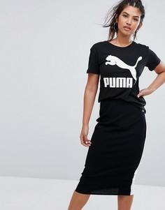Черная футболка бойфренда с логотипом Puma Archive - Черный