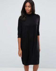 Свободное платье миди Pieces Tabitha - Черный