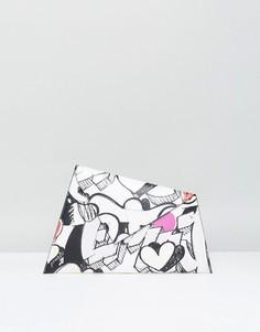 Сумка-клатч с принтом в стиле граффити ASOS - Белый
