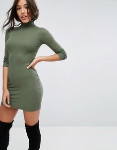 Облегающее платье мини в рубчик с воротником поло ASOS - Зеленый