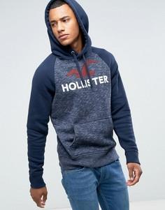 Худи темно-синего меланжевого цвета с логотипом Hollister Tech - Темно-синий