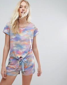 Пижама из топа и шортов с принтом облаков Boux Avenue - Мульти