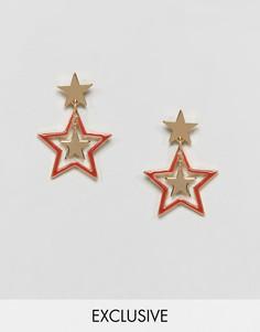 Серьги-гвоздики с тремя звездами Monki - Золотой
